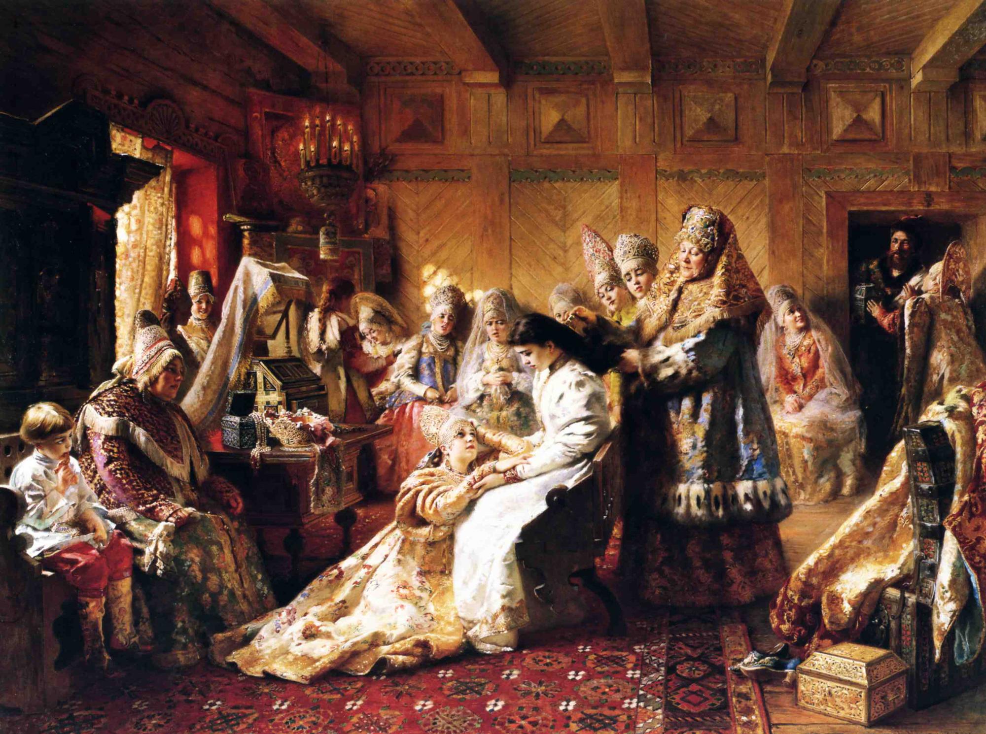The Russian's Bride Attire , Konstantin Makovsky, 1889.