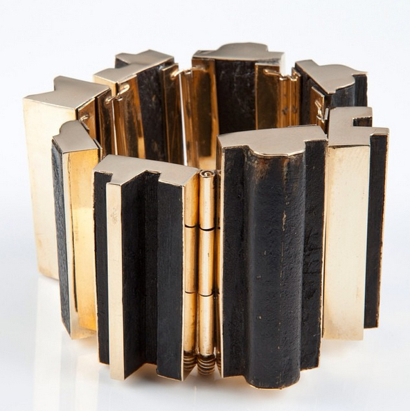Nevelson cuff, wood, gold.  image, didier Ltd