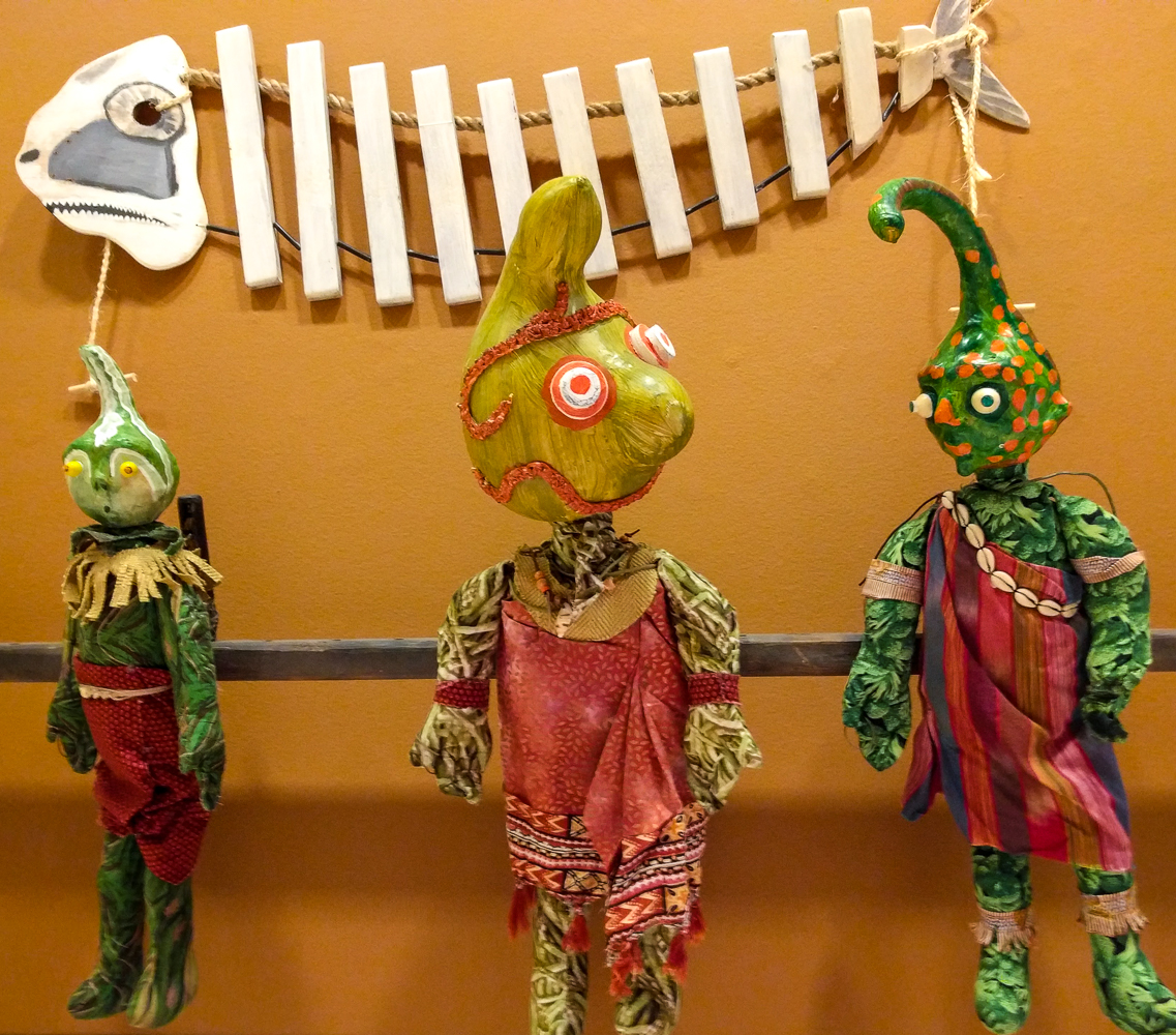 """puppets from """"Cannibal Island"""" where head size matters"""
