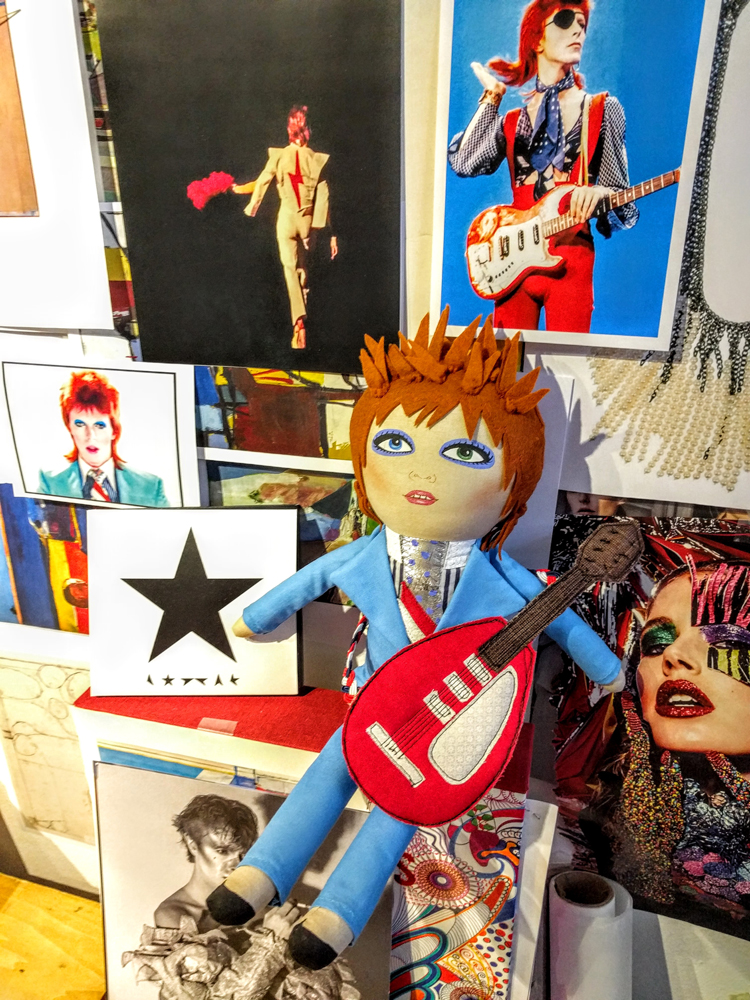 Bowie doll on my studio wall