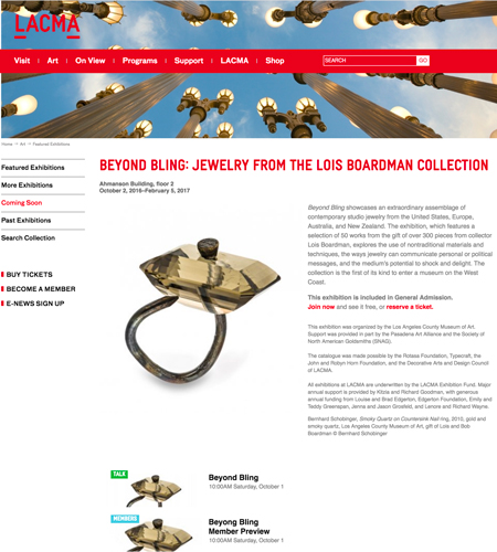 LACMA website for Beyond Bling
