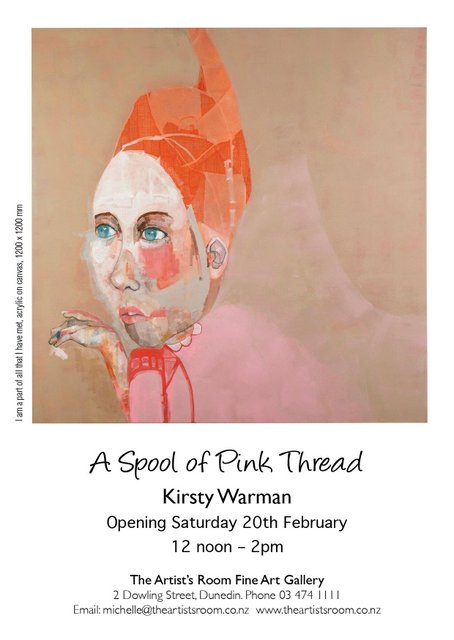 """""""    A spool of pink thread   is a series of portraits that are deliberately free from traditional realism and the historical conventions of figurative painting. They explore and interpret an abstract painted thread and mark making; a repeat of pattern, amidst a chaos of colour.    The works, including,    I am a part of all that I have met    ,  considers  individuals you have been introduced to throughout your life and the impact construed -if any.      In retrospect, an introduction becomes an impression in time - a memory that can be unpredictable and frivolous in recalling all the nuances of a person's features.      These paintings strive to capture an 'abstract sparkle' rather than a likeness. There is careful consideration and exploration of one's semblance, by challenging the idea of an identity which appears absolute, but all the while engaging with the uncertainty of a fickle memory.      The mark making has become purposely derived from my surrealistic drawing process which runs parallel to my painting practice. Incessantly, the lines and patterns from within the drawings appear in the painted works allowing the viewer to observe beyond the literal confines reflecting a reconstructed spirit."""