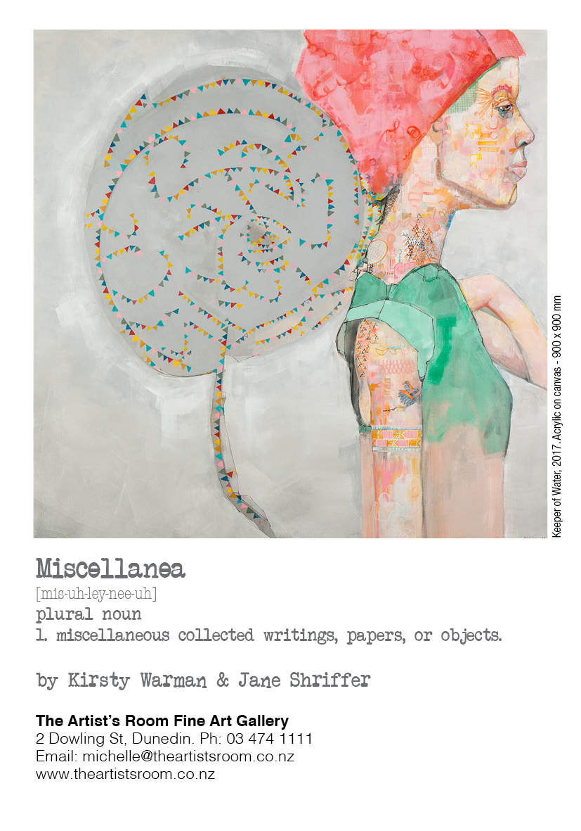Review James Dignan ODT Art Seen 13 April 2017    ''Miscellanea'', Kirsty Warman and Jane Shriffer (The Artist's Room)  A joint exhibition by Kirsty Warman and Jane Shriffer is under way at The Artist's Room. The two sets of works complement each other well.  Warman's paintings are figurative, but the ghost of abstraction hides within her images. In her explorations of identity, she presents close-up portraits against suffused backgrounds. The figures appear to hide their true identities in arrays of constructed lines which form deliberately distracting details.  These are hints of the sitters' personalities, but we are forced to see what the subjects want us to see, mere masks. In the era of ``alternative facts'' we are presented with a false front, but one with clues in the details, with all the implications that has for attempts to pierce the rhetoric and discover the truth within.  Shriffer's paintings, in contrast, are deeply abstract. It is the mark-making which is the important focus of the works. Colour is instinctively added in thickly applied paint, the marks of brush and palette knife clearly visible as intrinsic features of the work.  The pale backdrops of Warman's portraits find their complement in Shriffer's deep glassy blues and greens. Though the works are purely abstract, the eye attempts to discern familiar landforms and features in the attractive, heavily worked surfaces.