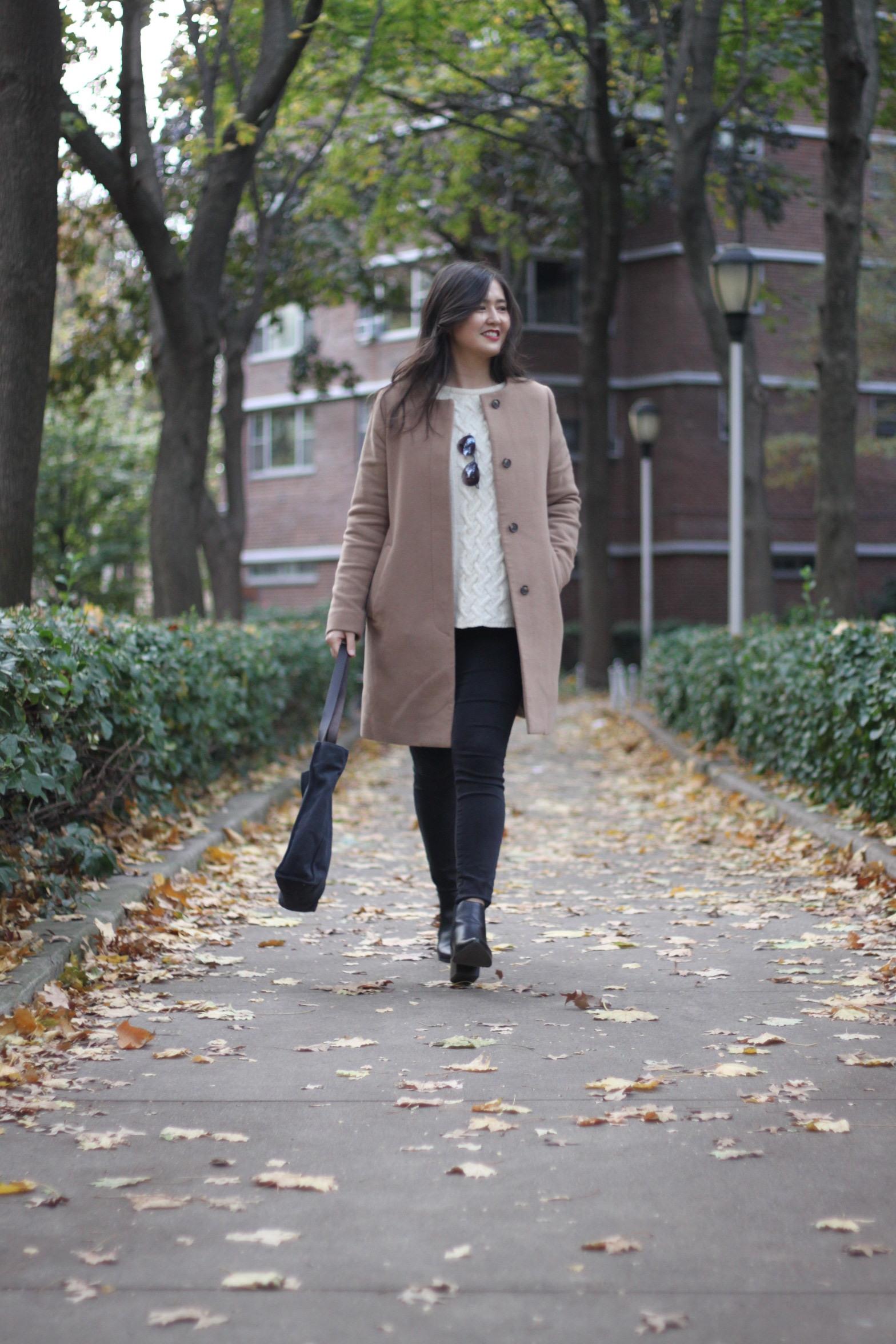 Coat:  Uniqlo . Sweater: Zara (similar  here ). Jeans: American Eagle. Boots:  ASOS .