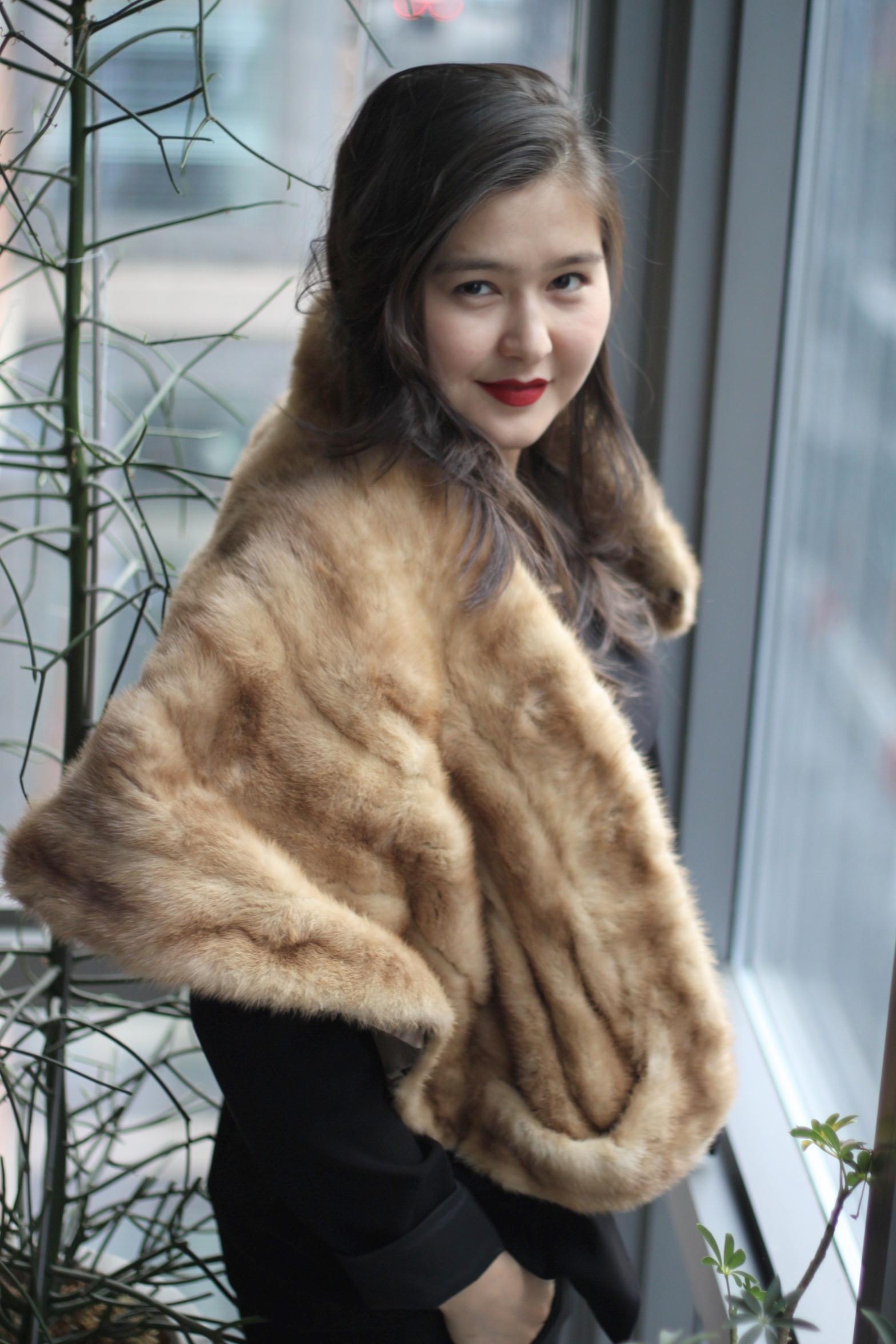 Pants:  Ann Taylor Loft . Peplum Shirt:  H&M.  Blazer: Tahari. Fur Collar: Vintage. Cuff: Present from B. Lips: Nars.