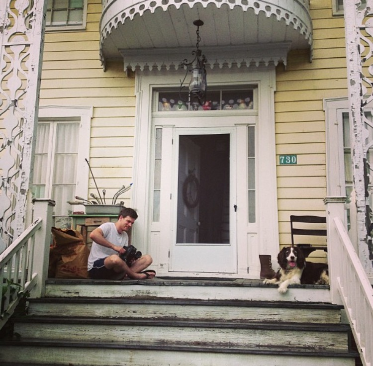 Man and Dog on Porch