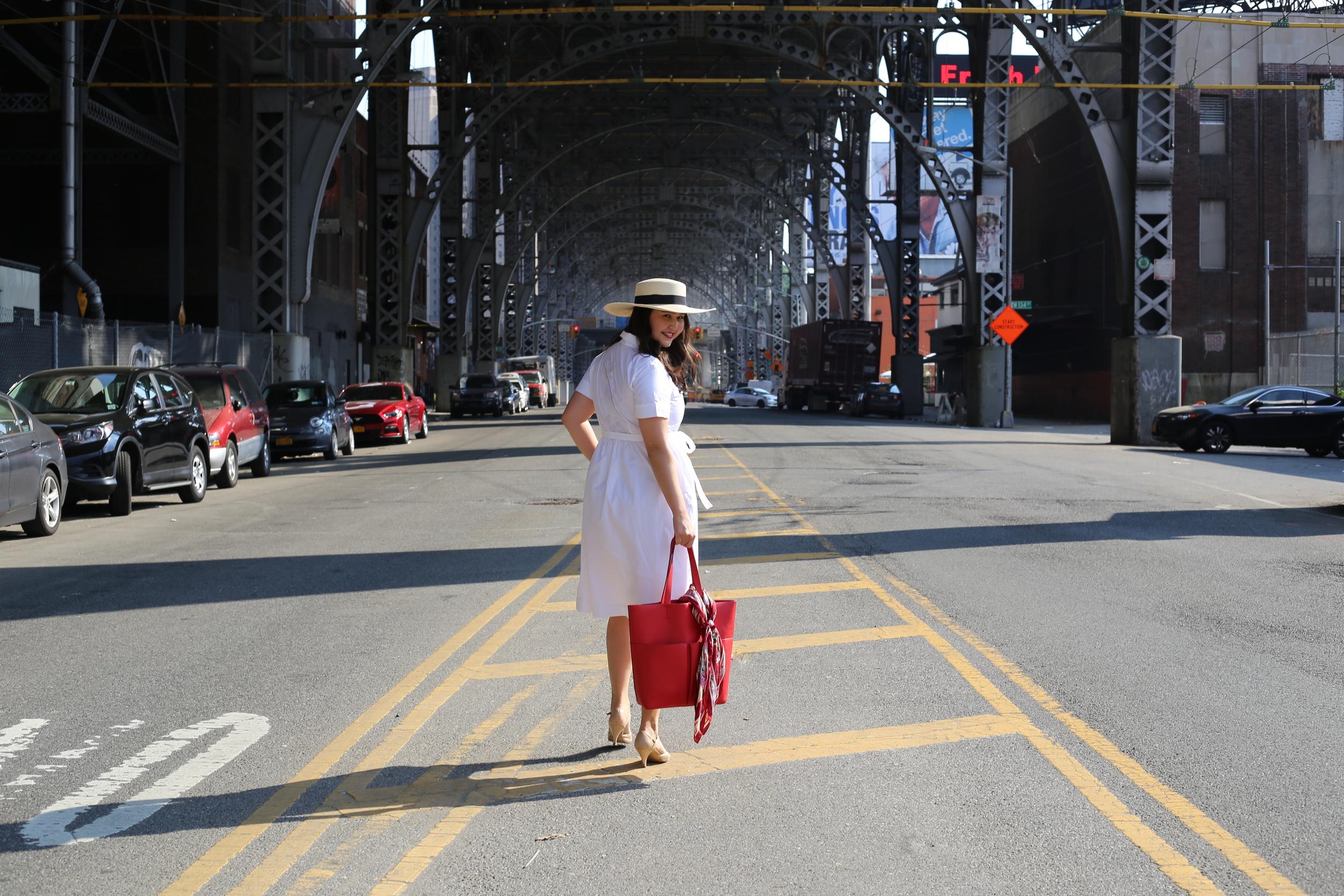 Dress: Loft; Shoes: Aldo; Hat:  Target ; Bag: Zara (similar  here ); Scarf: old.