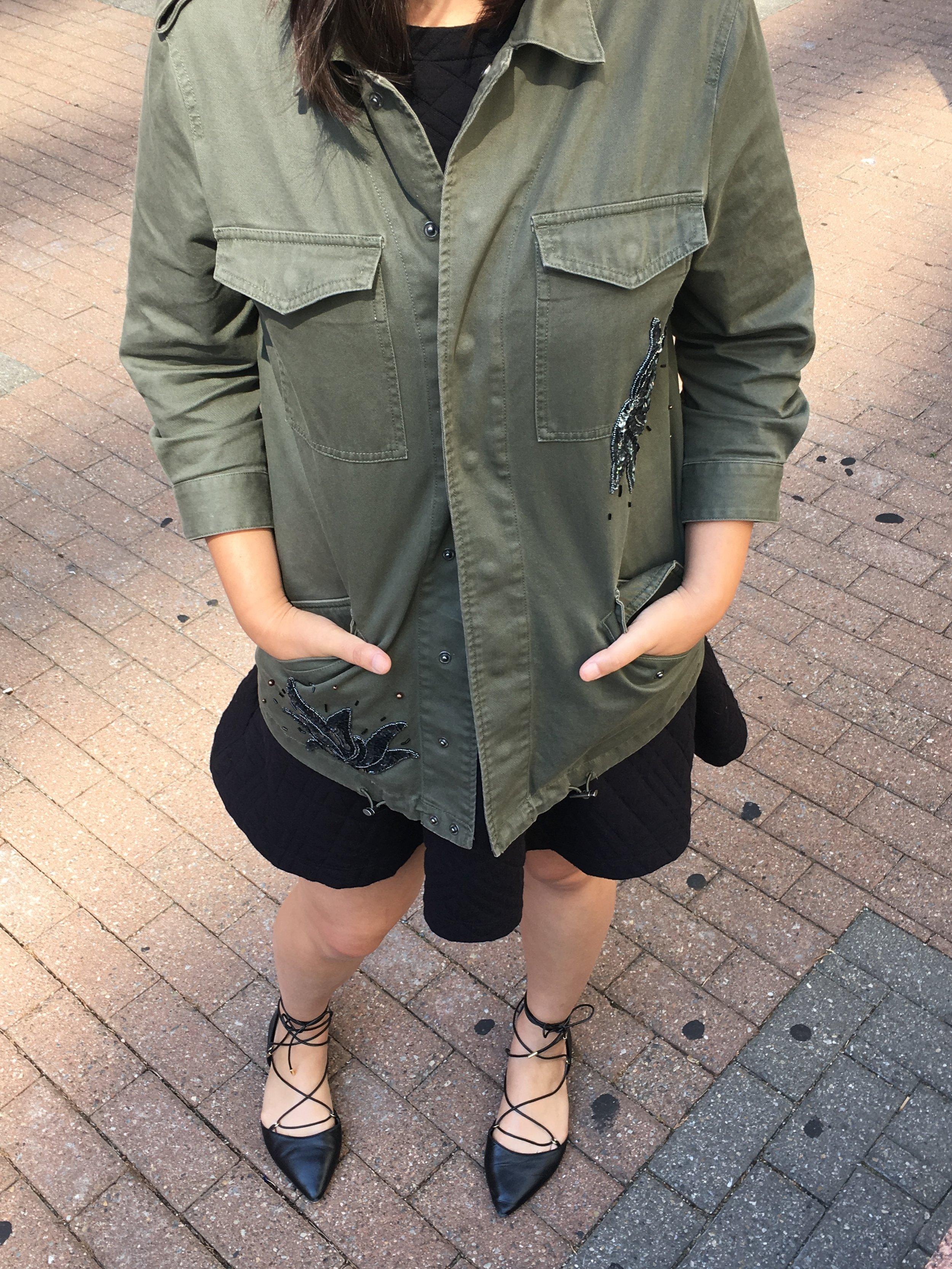 Jacket:  WhoWhatWear x Target . Dress: Loft. Shoes: Aldo