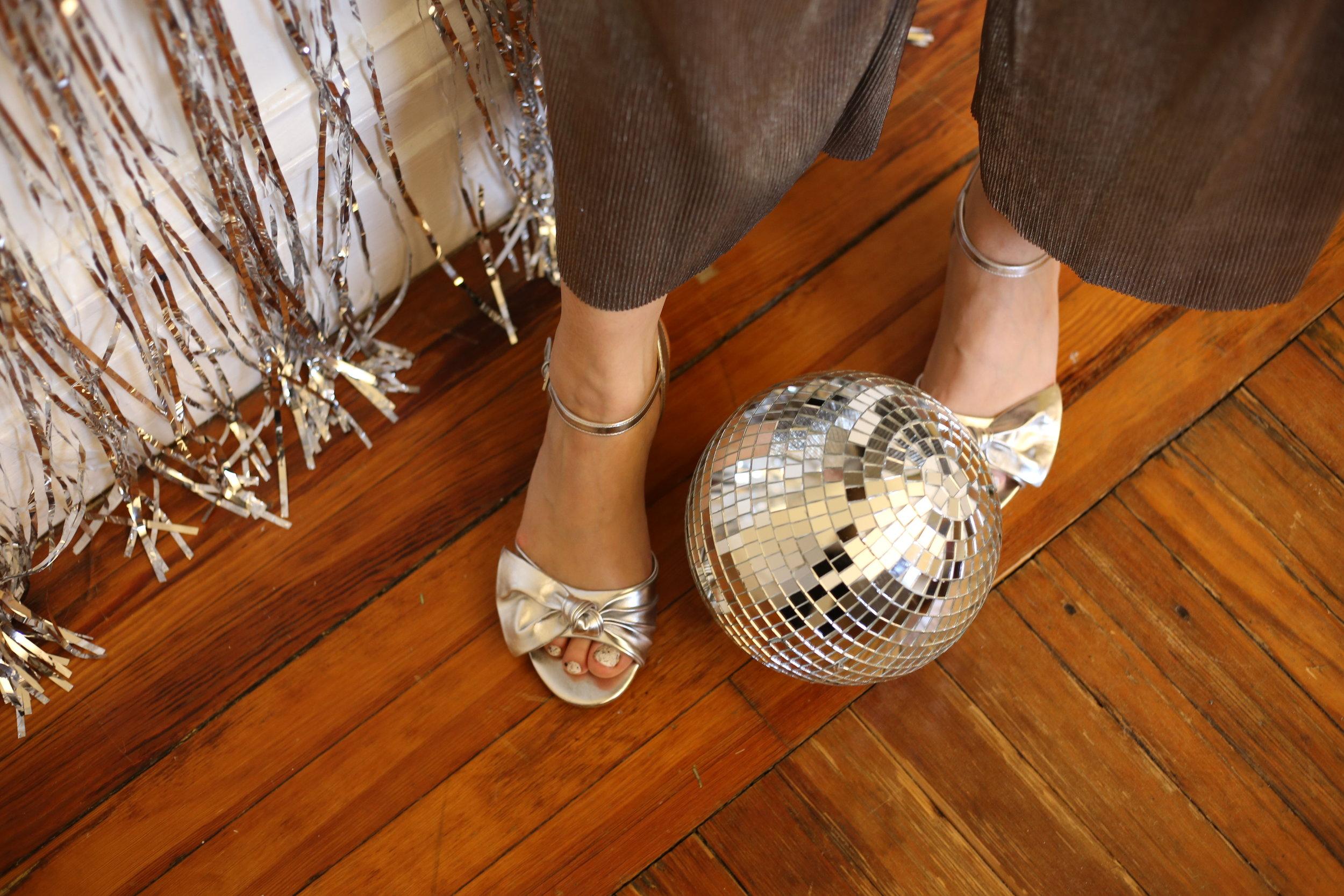 Silver Block heel sandals