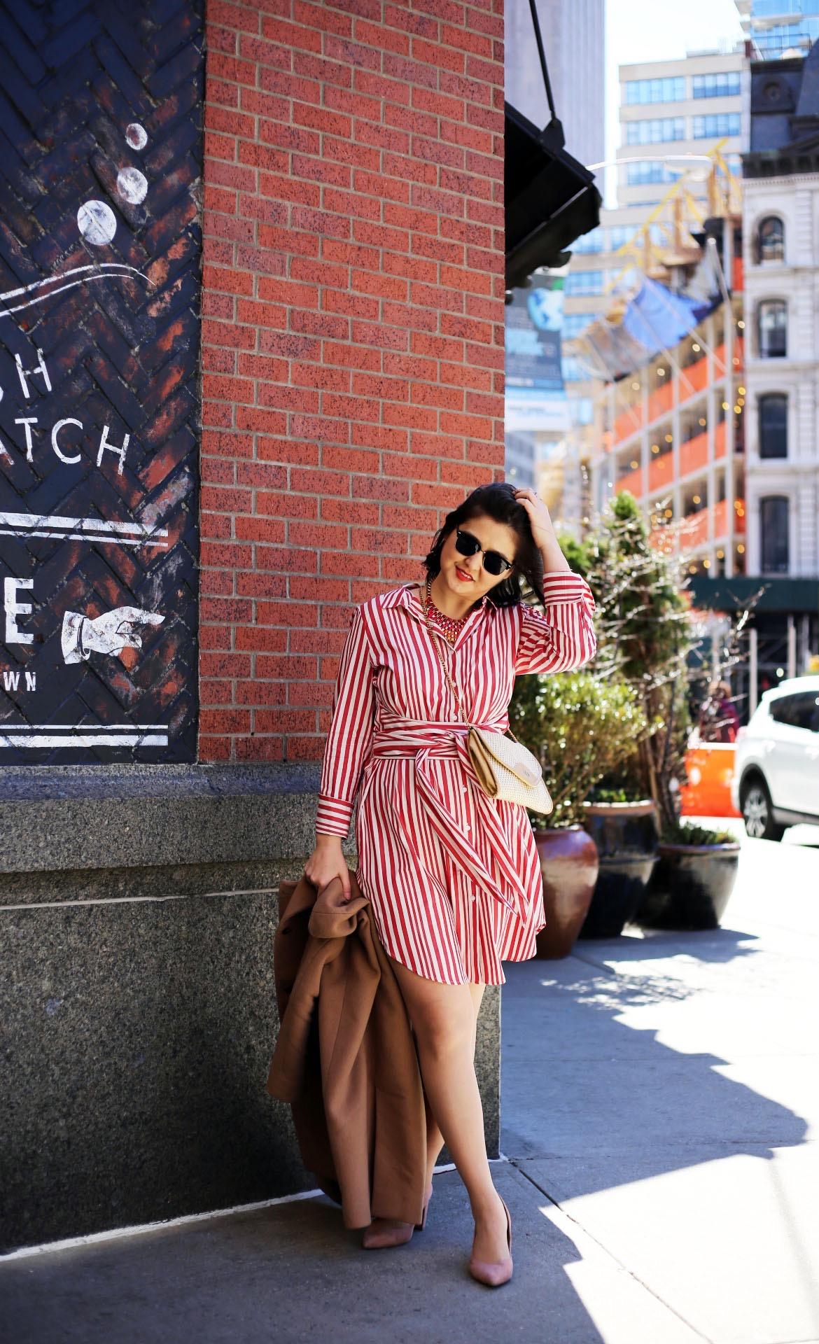 Dress:  Target . Shoes:  Marc Fisher . Coat: Uniqlo (similar  here ). Bag: Vintage.