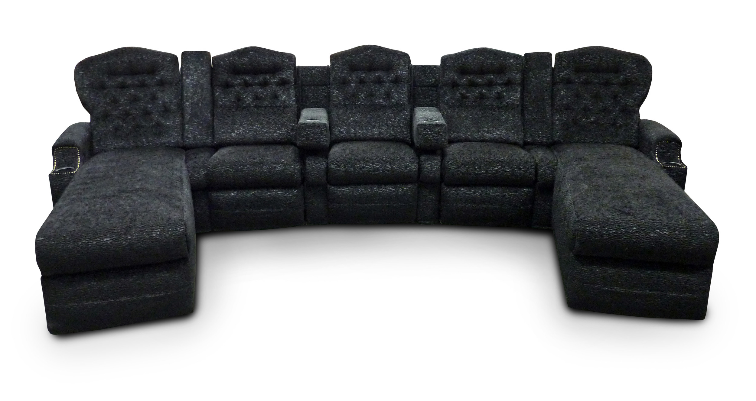 Chaise Wedge Unit; pocket arms/fixed seat; lumbar pillows; Customers Own Material