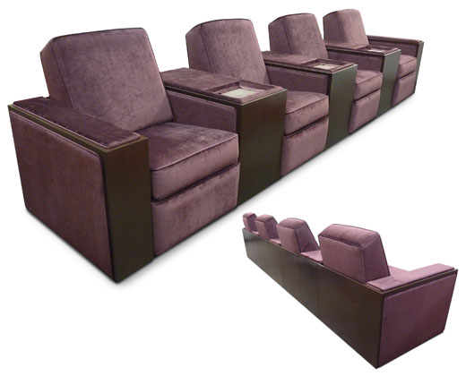 4-seat common 12 inch arm; wood veneer arms with upholstered arm rests and side panels. *Shown with optional wood back panel