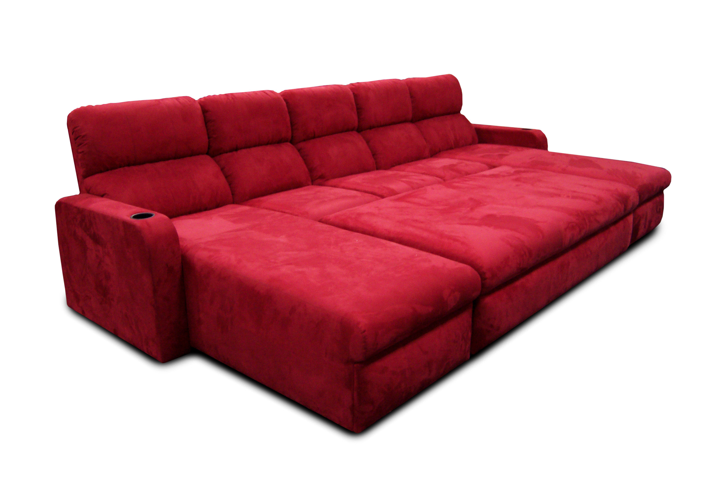 Chaise-Center Reclining Sofa-Chaise; Center Ottoman on Casters; Pillow Back