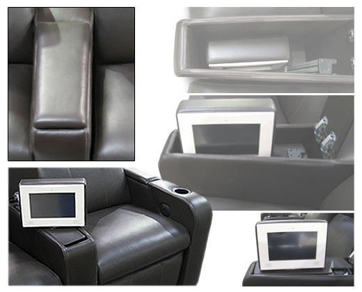 Motorized touch screen lift. Touch screen is stored within the cavity of the arm and concealed when not in use.