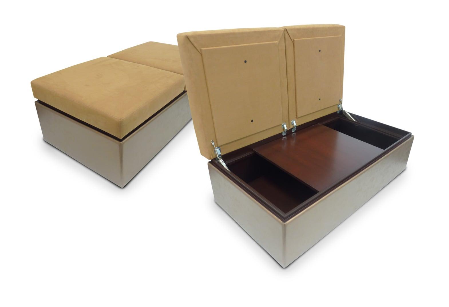 Storage Ottoman with interior sliding table top