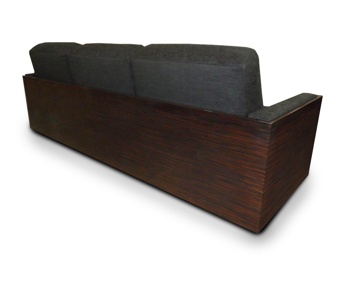 Macasser wood veneer arms with upholstered arm rests; *Shown with optional Macasser wood back and side panels