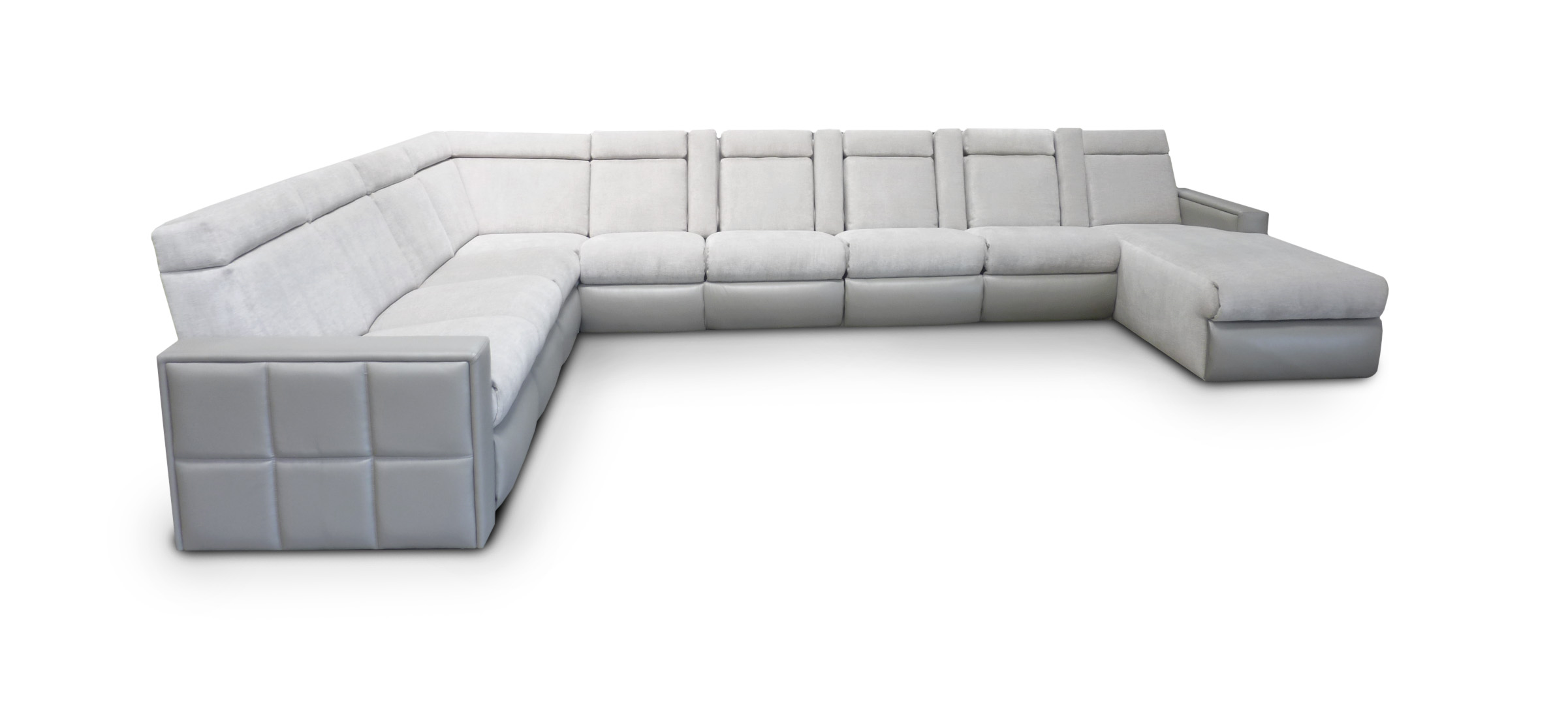 Sectional; Motorized Adjustable Headrest; Removable Head Pillows; Motorized Chaise Footrest; Quilted Arm Detail; D-Box; Motorized Lumbar Support; Storage in Chaise