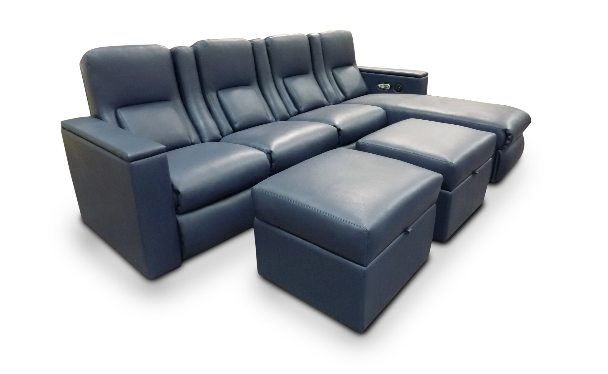 Madison Pocket Arm; Motorized Tray Tables in Custom Outside Arms; Motorized Press Back; Heat-Massage; Data Port in outside arm; Storage Drawer in Chaise; Chaise Footrests; Storage Ottomans