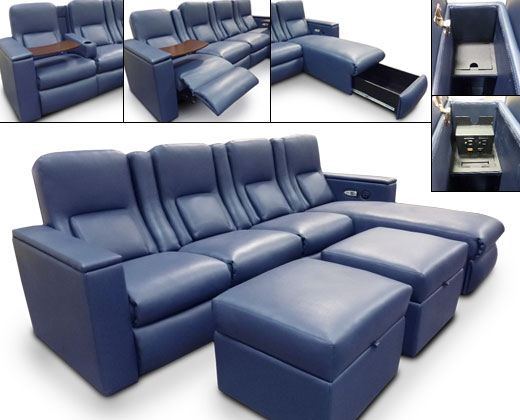Madison Pocket Arm; Motorized Tray Tables; Motorized Press Back; Heat-Massage; Data Port; Storage Drawer in Chaise; Chaise Footrests; Storage Ottomans
