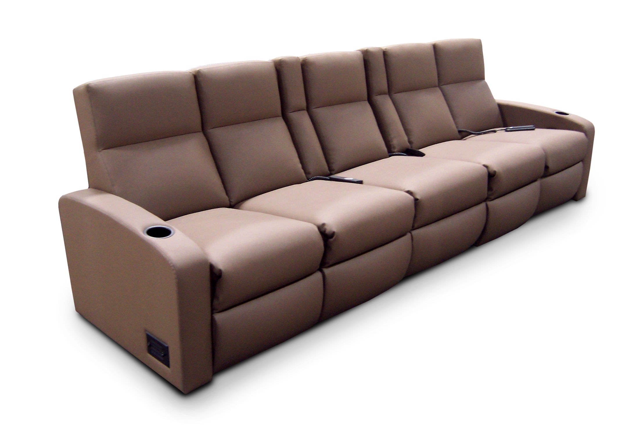 Dual-single-dual, center pocket arm unit, chaise footrest; aisle light, electric outlet and ethernet port - outside arm; storage in outside arm