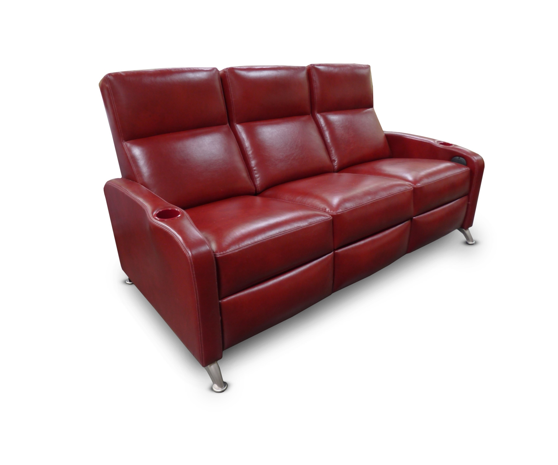 Reclining sofa; Optional chrome feet