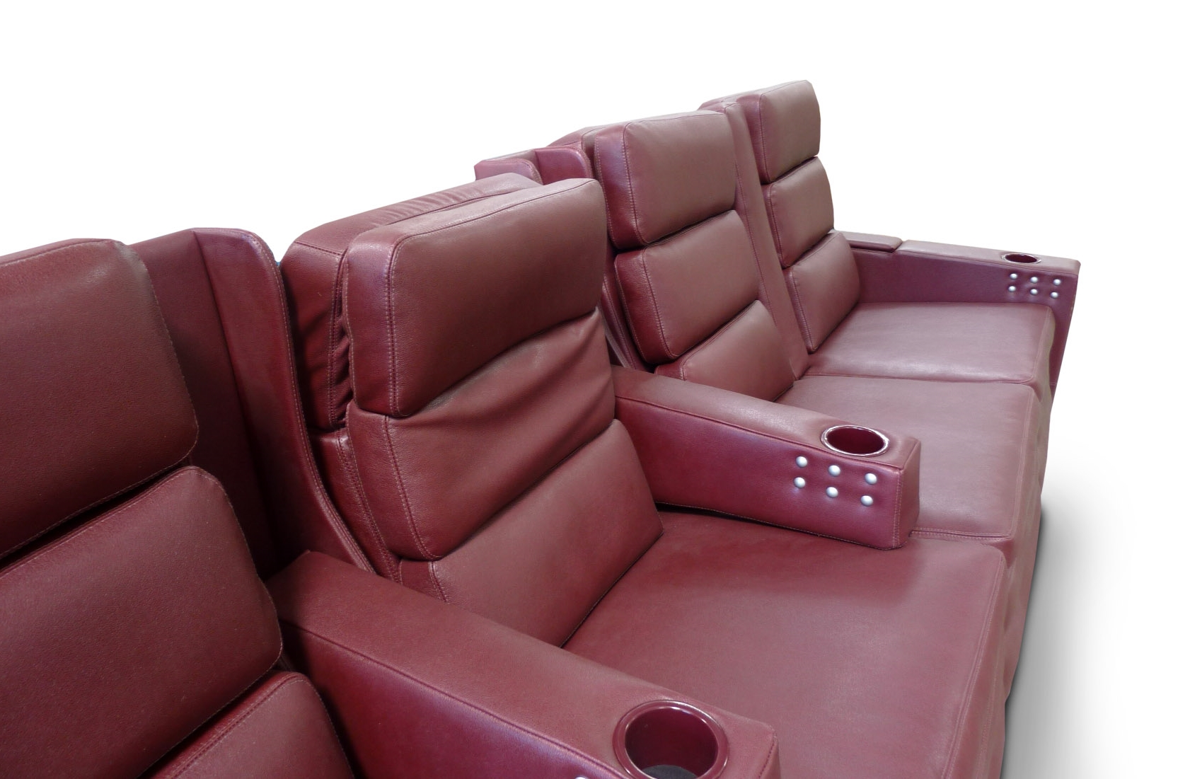 Pocket Arms, Stainless switches for Motorized Recline, Lumbar Support and Articulating Headrest; Cup holders powder coated to match leather.