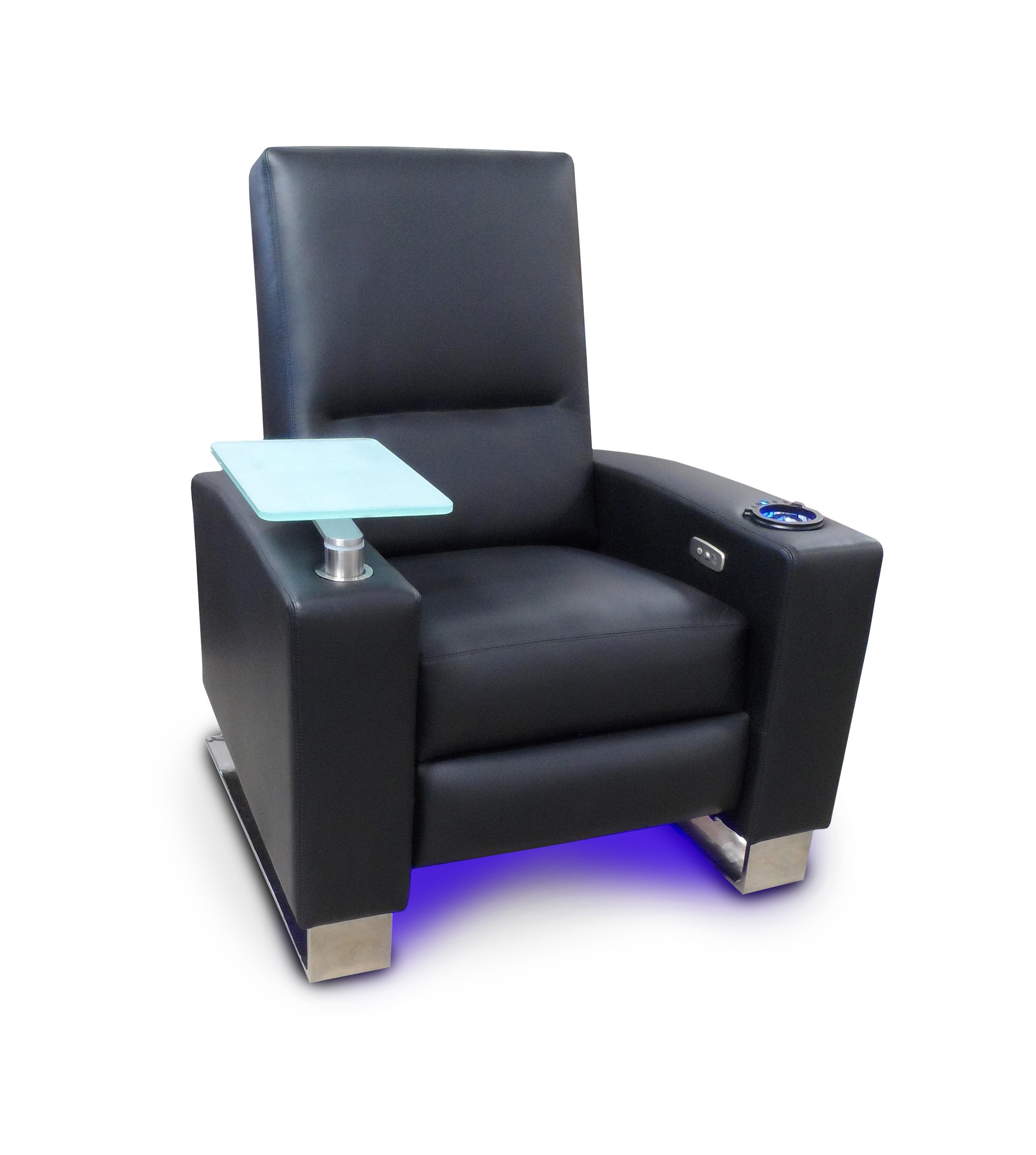 Swivel Tray Table ~ Frosted Glass ~   LED Cup Holder and Light Strip