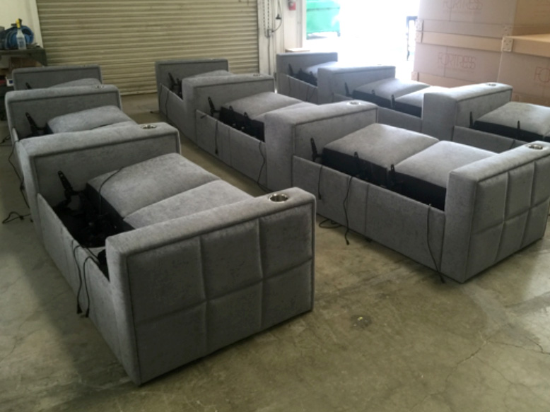 The West End is a modern design that can be specified with loungers. This custom configuration was designed for a cinema inside a hotel, and is nearly ready for shipping.