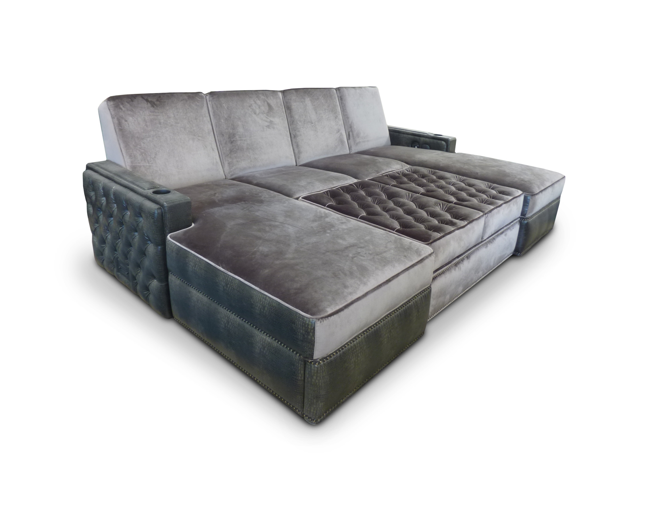 Lounger with tufting on side panels, back & ottoman.  Ottoman on casters