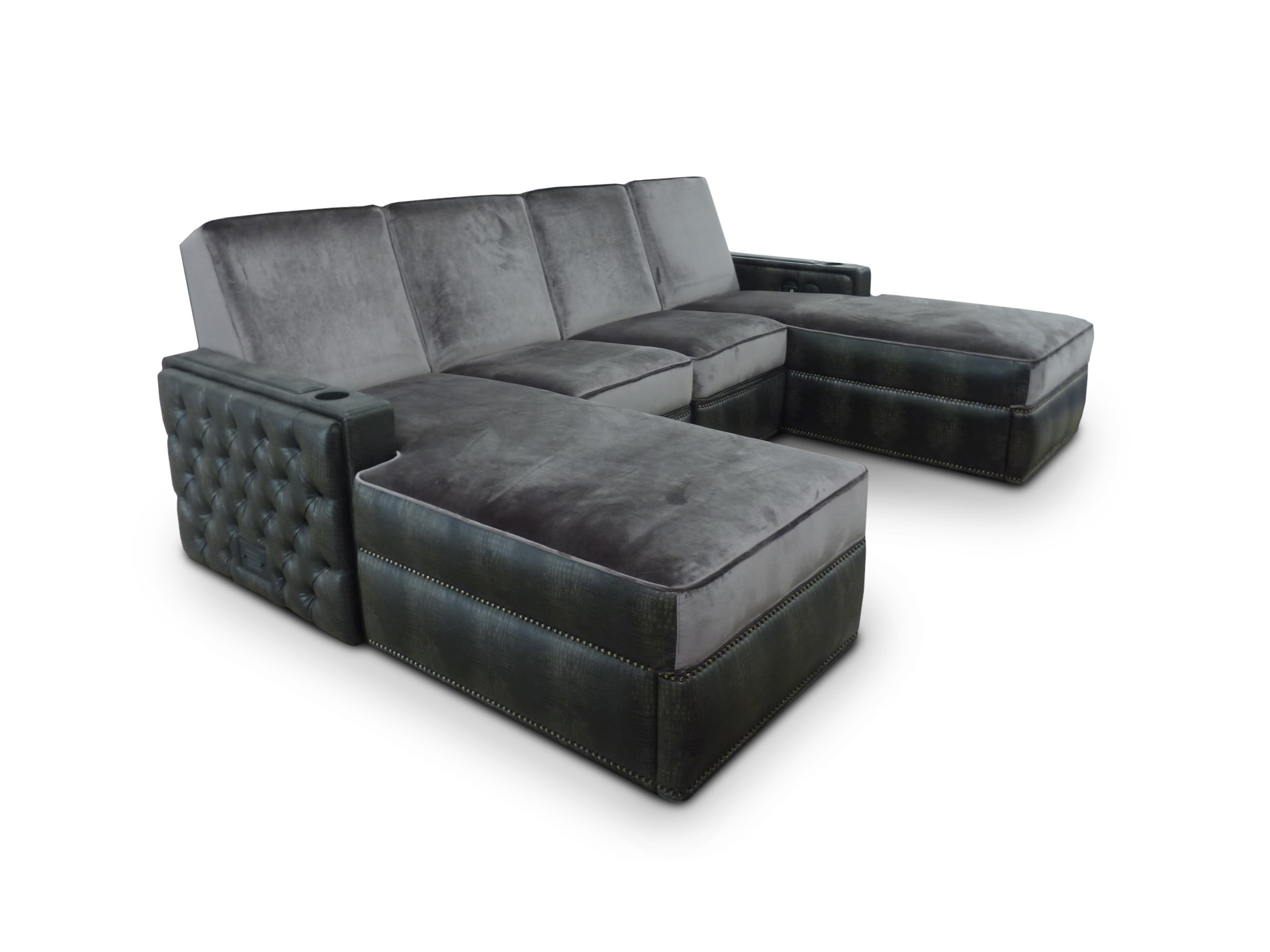 Lounger with tufting on side panels, back and ottoman.  Ottoman is on casters