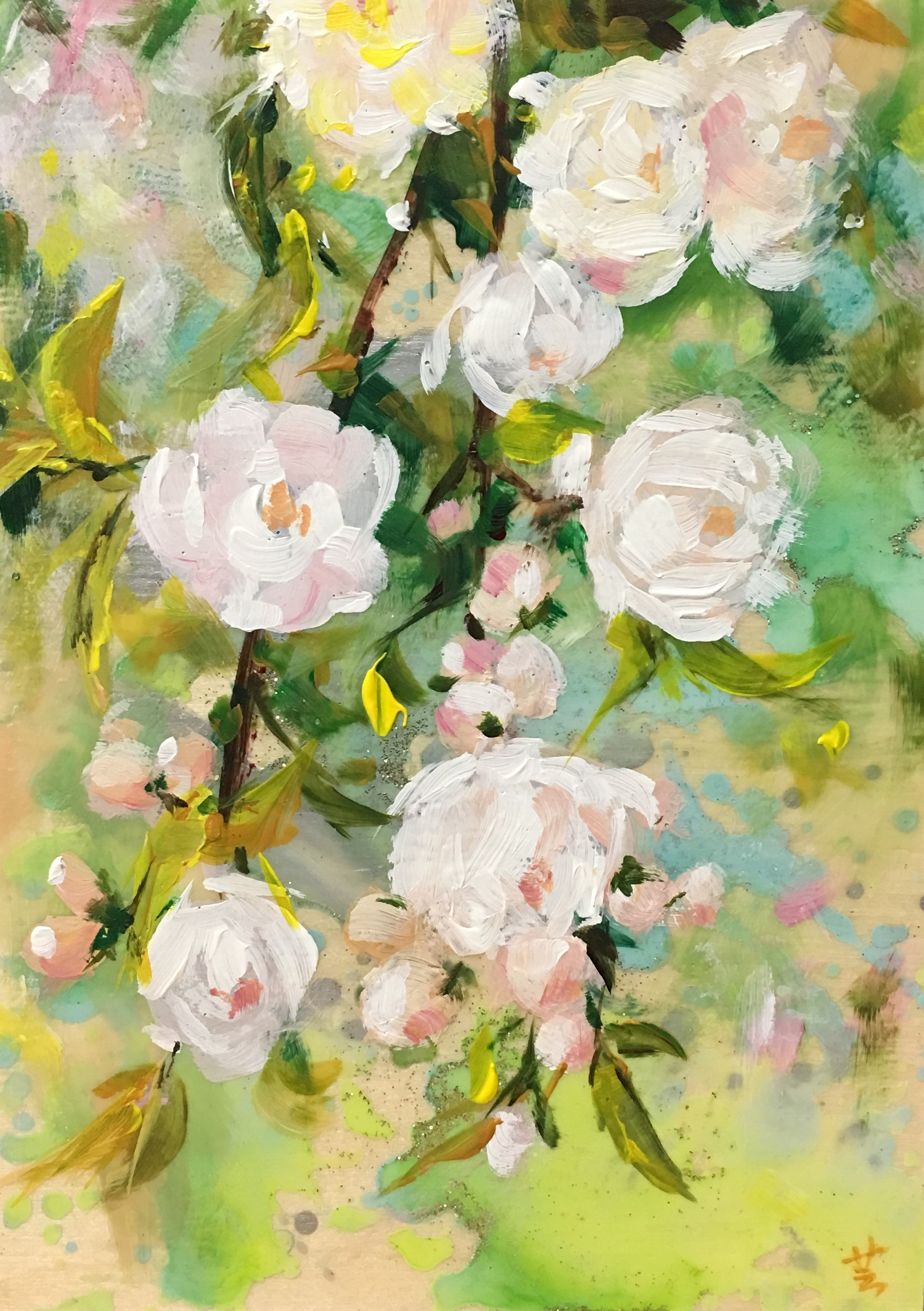 "Spring Blossoms, 7""x5"", acrylic on wood panel, 2015"