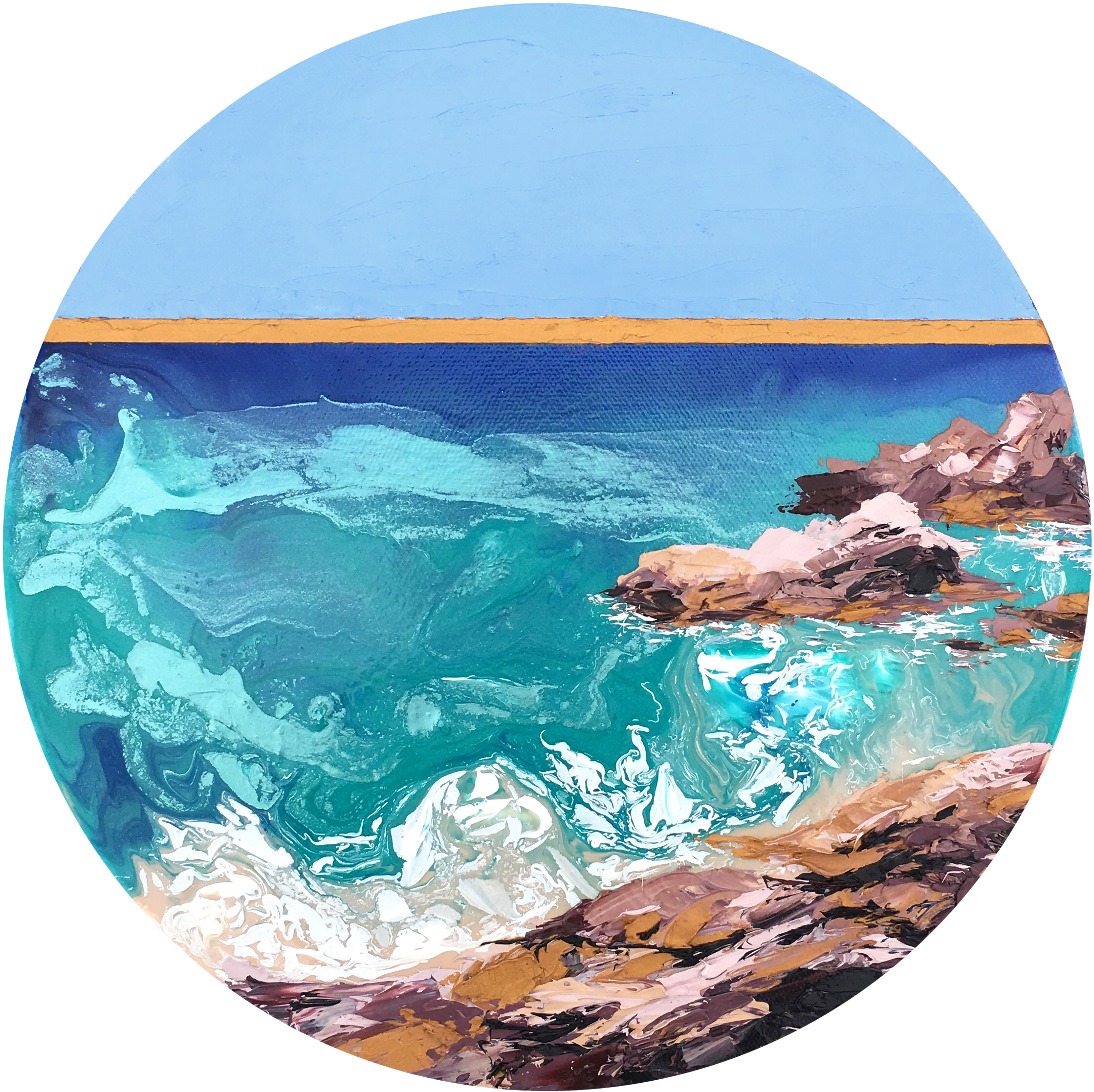 "Turquoise Sea, 10"" in diameter, mixed media, 2017"
