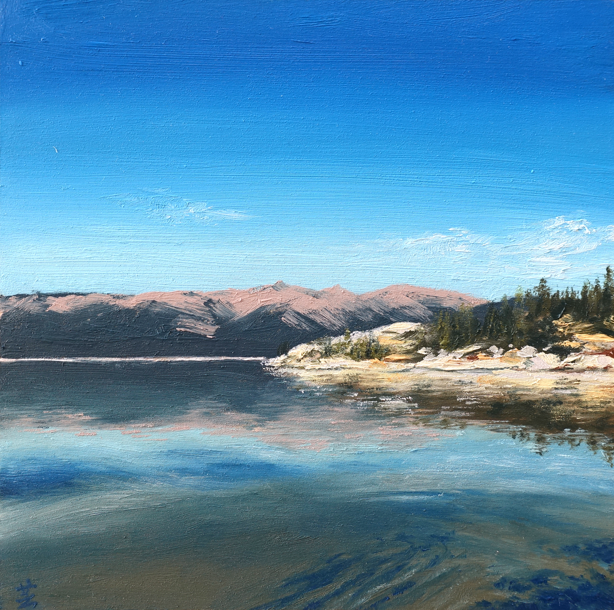 "Lake Tahoe Reflections, 6""x6"", oil on wood, 2017, Sold"