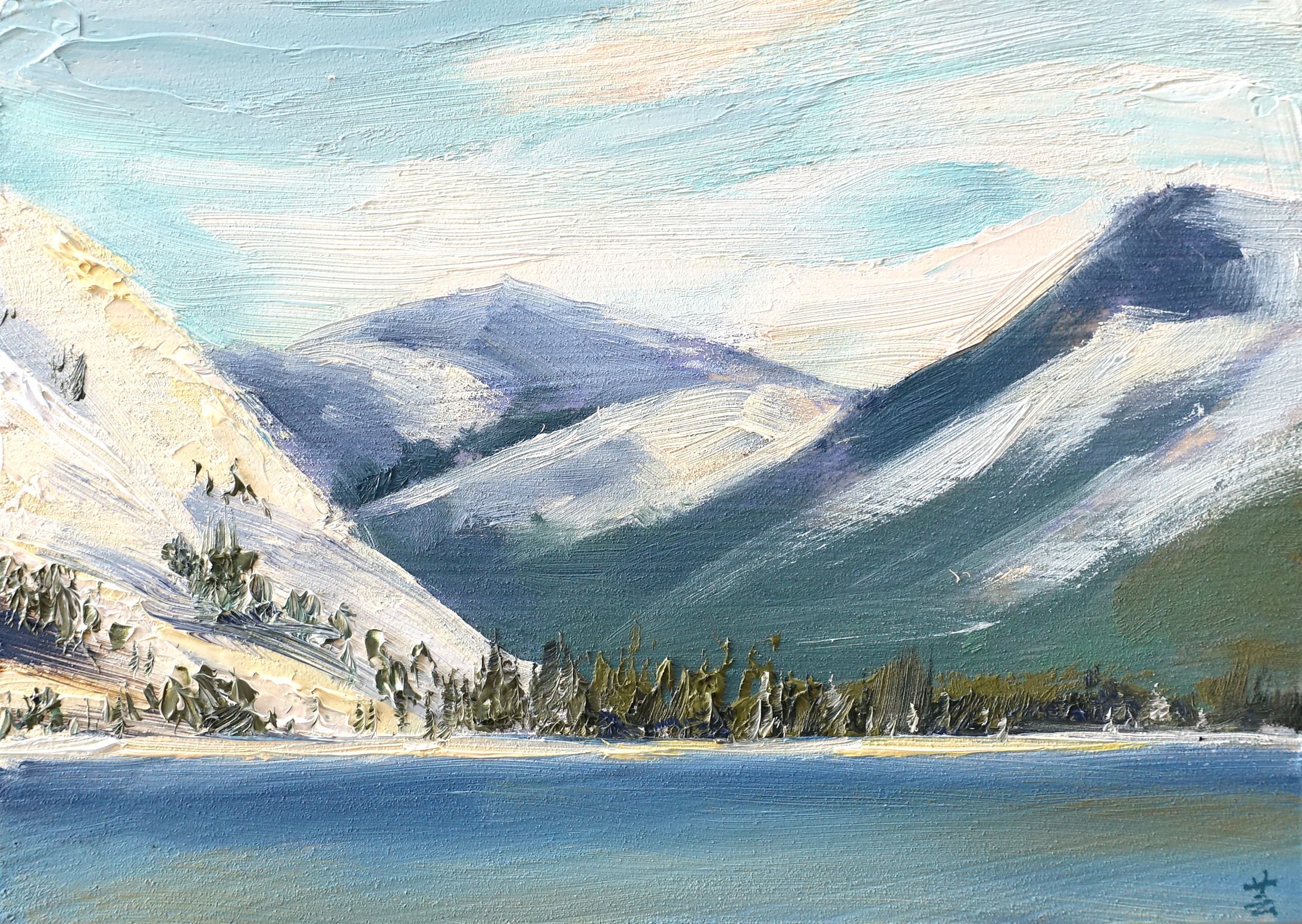 "Tenaya Lake (plein air), 5""x7"", oil on wood, 2017, Sold"