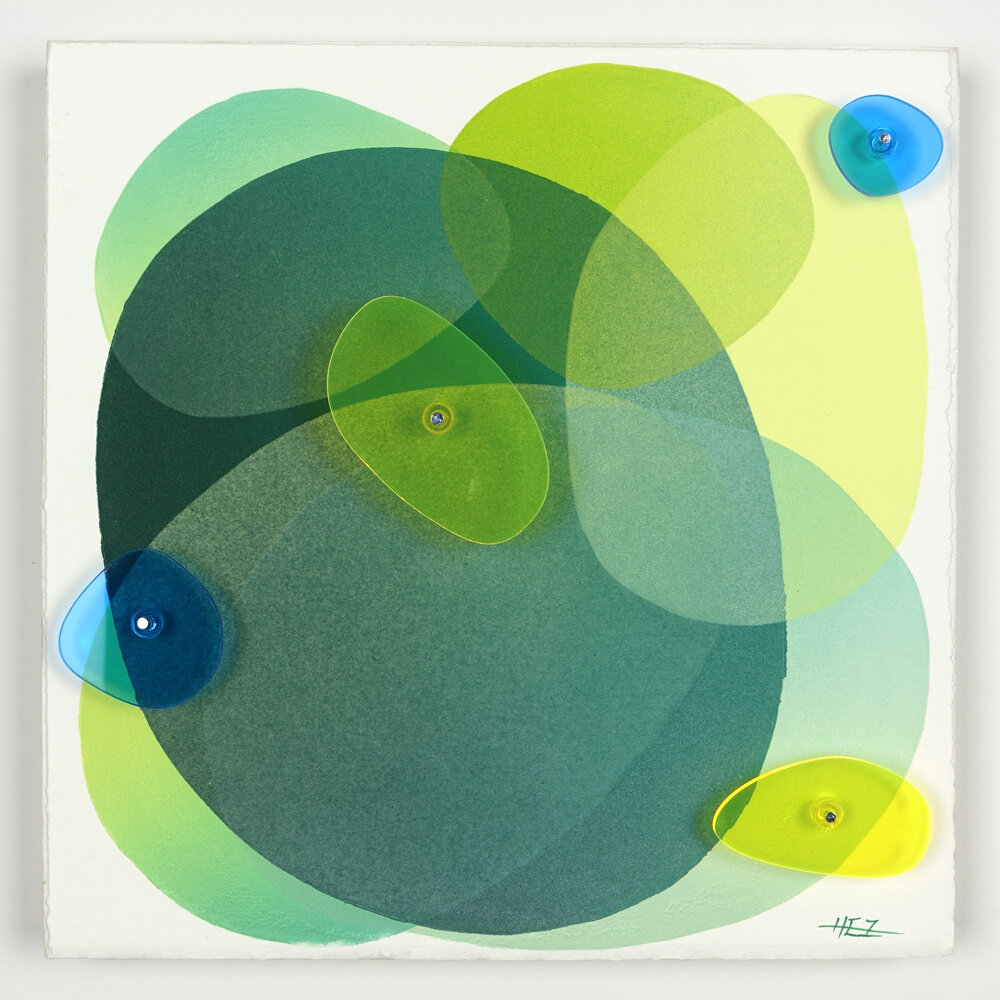 If Rocks Could Remember #51, 10x10 inches, monotype and plexiglass installation on wood