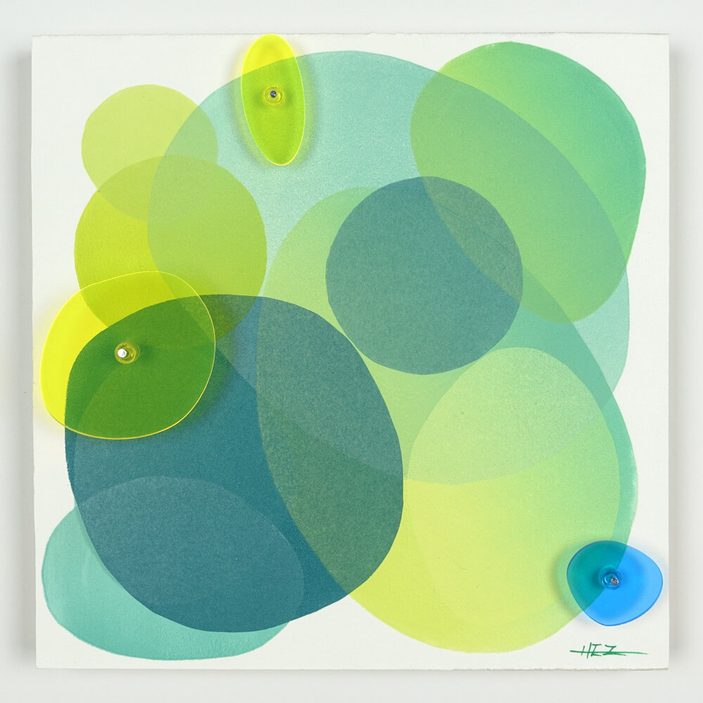 If Rocks Could Remember #53, 10x10 inches, monotype and plexiglass installation on wood