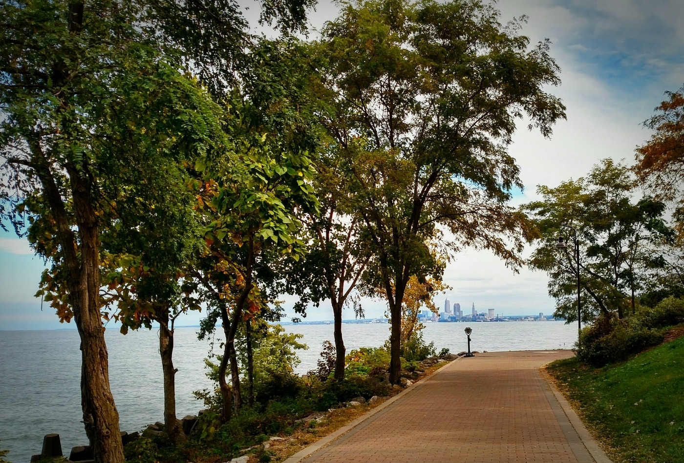 Lakewood Park with downtown Cleveland in the background.