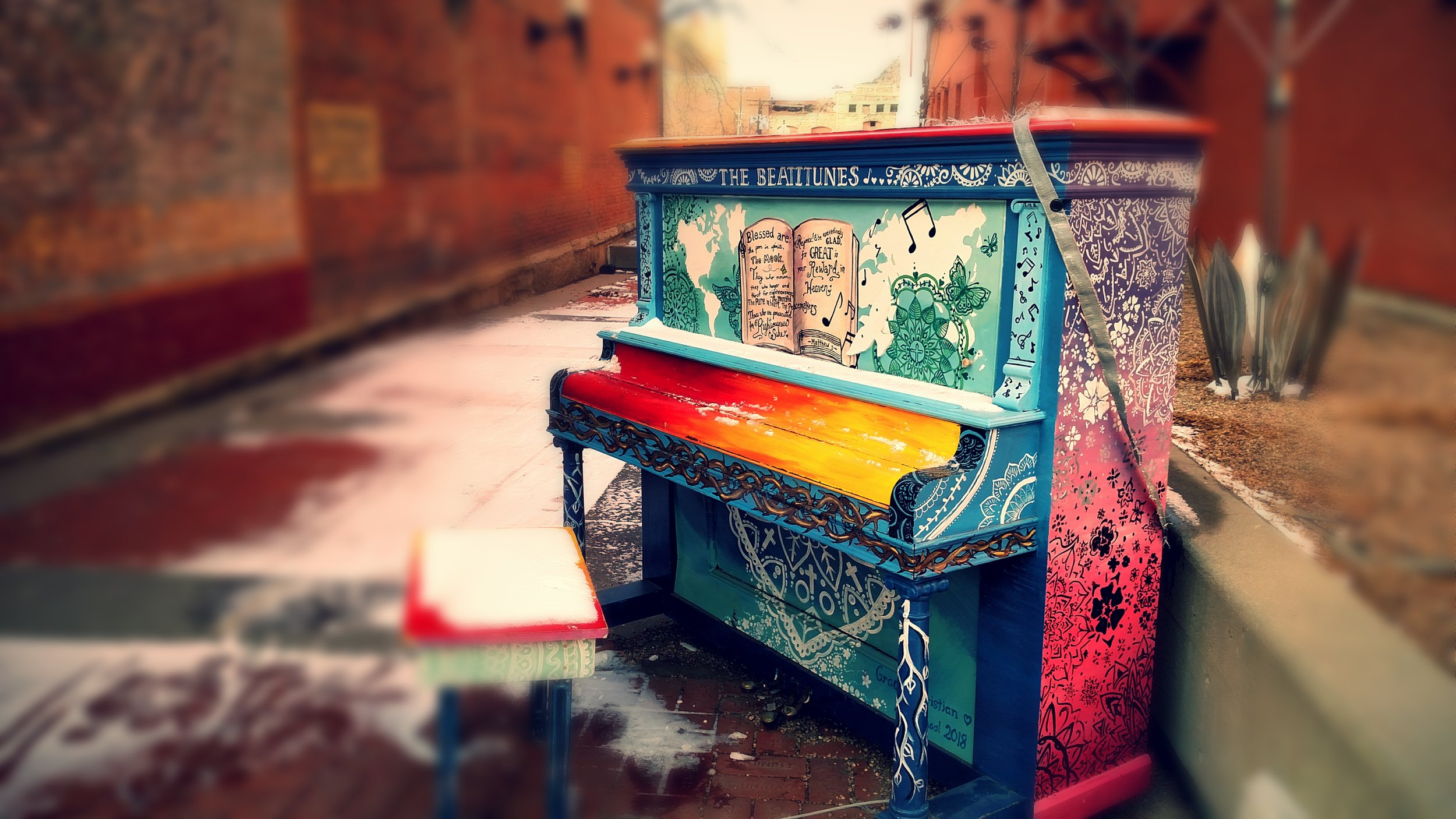 Colorful piano in Trinidad, CO