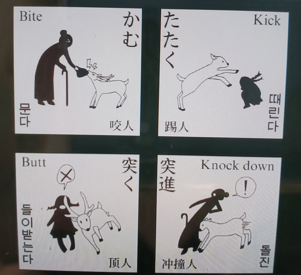 A warning sign about the deer in Nara.