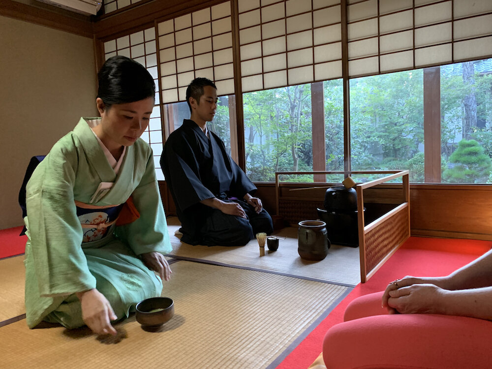 Traditional tea ceremony at Camellia Garden in Kyoto.