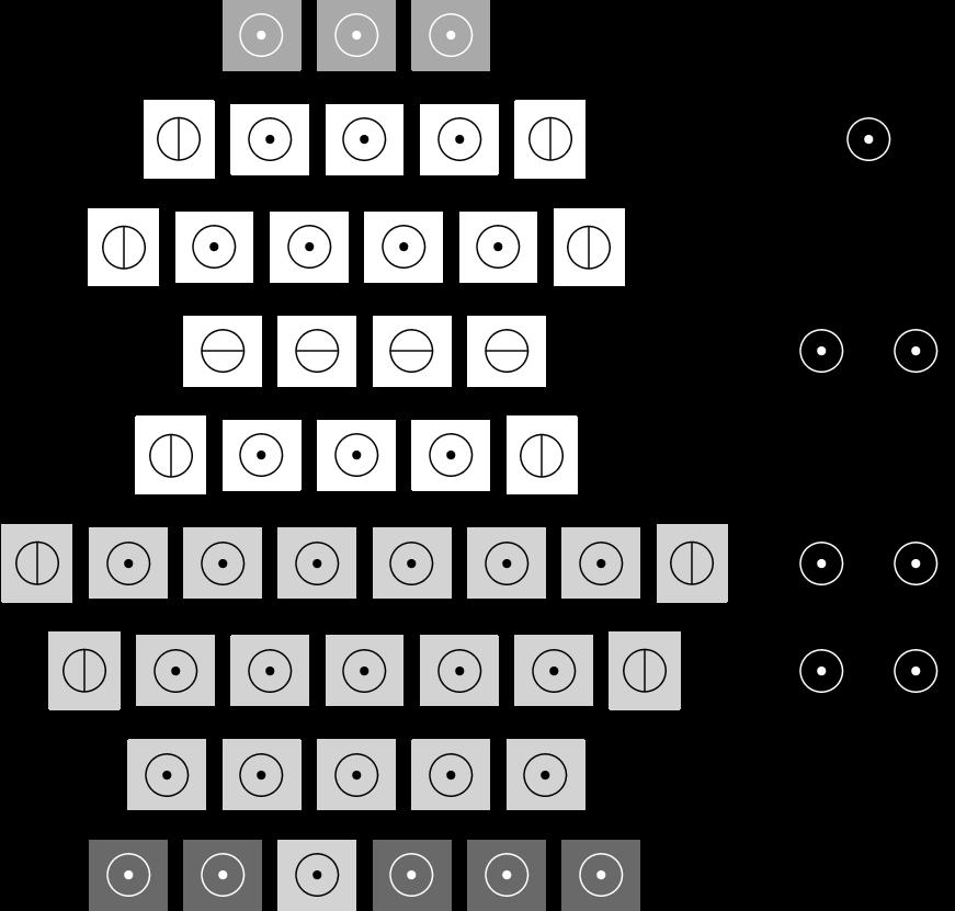 Figure 3: Touch sensor layout, flattened.= Snout;= Front;= Front (Side);= Front (Ear);= Back;= Back (Side);= Rump;= Underbelly.
