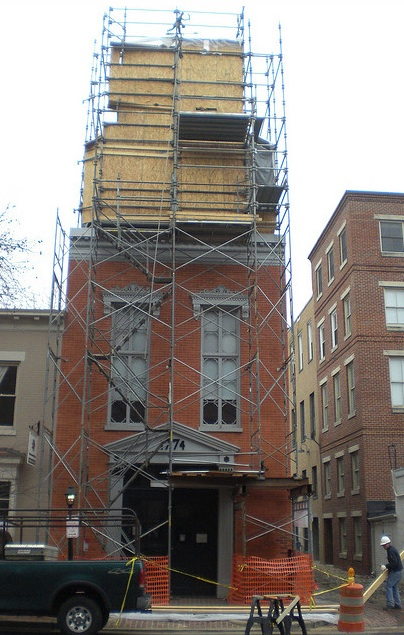 The firehouse cupola undergoing restoration. In association with OS&B Construction.