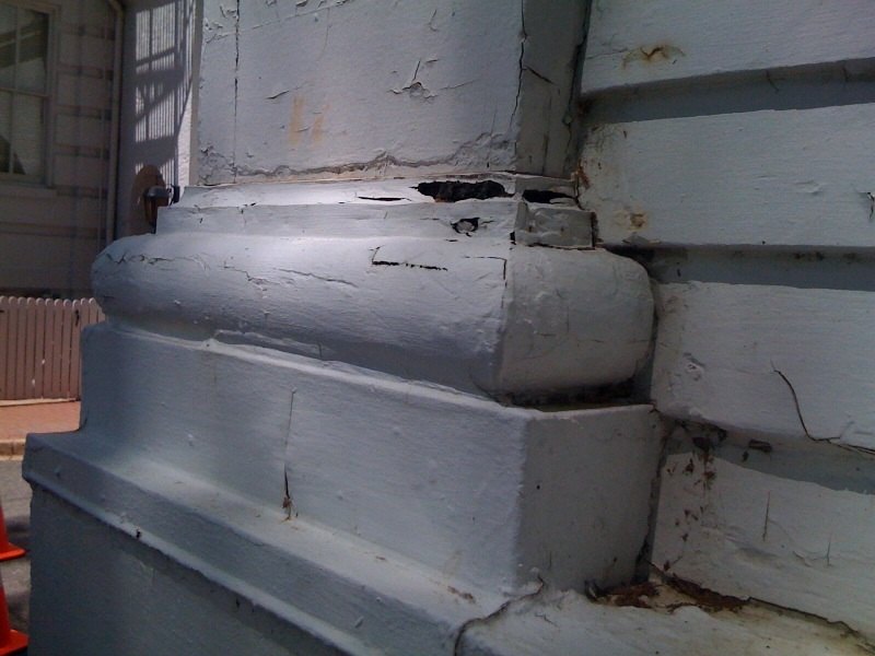 Typical damage to pilaster base.