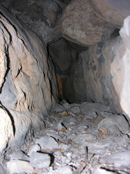 The area behind the Python Rock. A tight squeeze. Middle right is a series of markings.