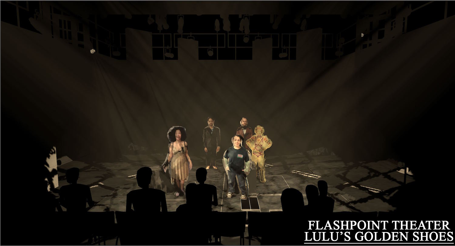 This is one of the first renderings I did for director Brenna Geffers.  I took the costume designers renderings and costume pictures and created the little cutouts.  Since the space was so even and minimal, I wanted to convey was how certain moments would be textured to help show different worlds.  Set by Thom Weaver performed at University of the Arts.