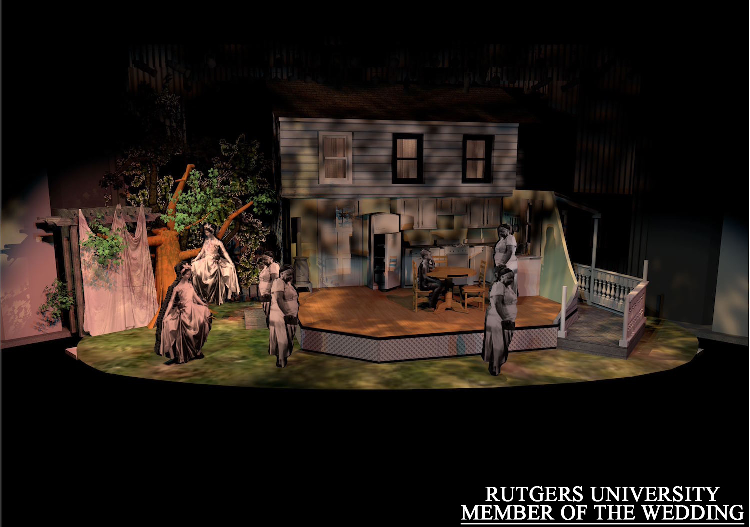 """Member of the Wedding"" at Rutgers- Camden.  Along with character cut outs from the movie, I started softening my template symbols to get a more accurate look.  The rep plot used was limited to mostly front of house, but it allowed me to see what would work best after a series of comparisons.     Directed by Jesse Bernstein, sets by Jim Lamont."