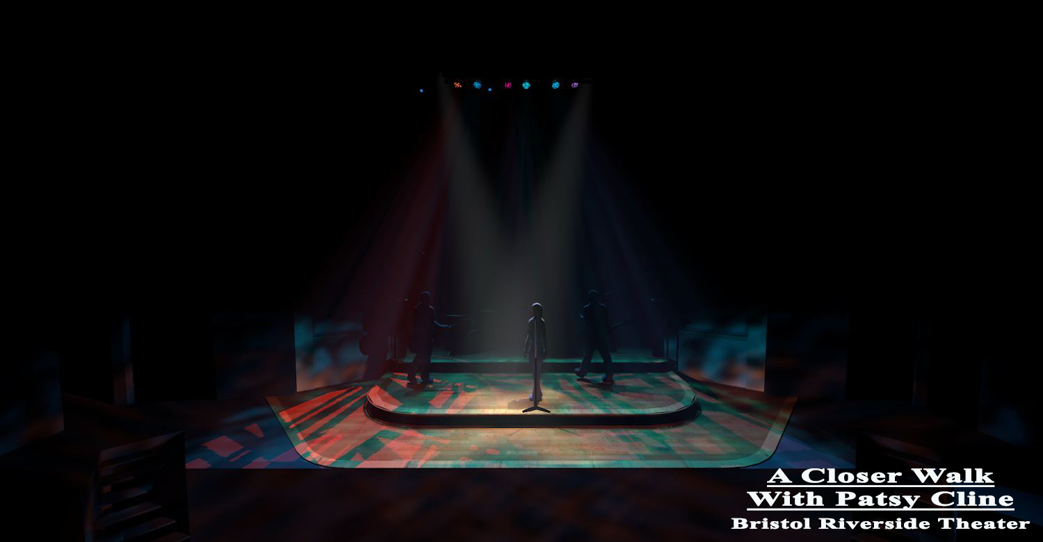 """""""A Closer Walk with Patsy Cline"""" at Bristol Riverside Theater. I literally brought the set into Vectorworks and turned some lights on from another show."""