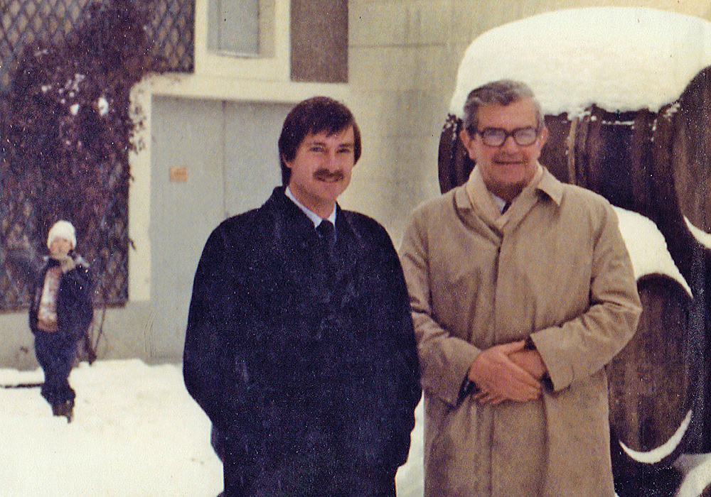 "Brian Croser and Christian Bizot in the Courtyard of Bollinger on Brian's first visit to Champagne in December 1983, a young Xavier in the background. Wine is a long-term thing. Wine families look beyond the short-term and have the ability to focus on quality as a long-term goal.The Champagne house Bollinger was founded on February 6, 1829 in Aÿ. My late father, Christian Bizot, nephew of Lily Bollinger, started at Bollinger in 1952, and managed it from 1978 until 1994.  The Bollinger family is at the helm of a group which now owns Chanson in Burgundy and Langlois Chateau in the Loire Valley (both brands we distribute in Australia), the house of Ayala in Champagne and small Cognac producer Delamain.  My older brother Etienne now successfully manages the group for the family. The best quote I know about wine families is when French Baroness Philippine de Rothschild was asked by a journalist how they were going at Mouton Rothschild, one of the Bordeaux First Growth houses, she replied""well the first 300 years were a bit hard but now it's going okay""."