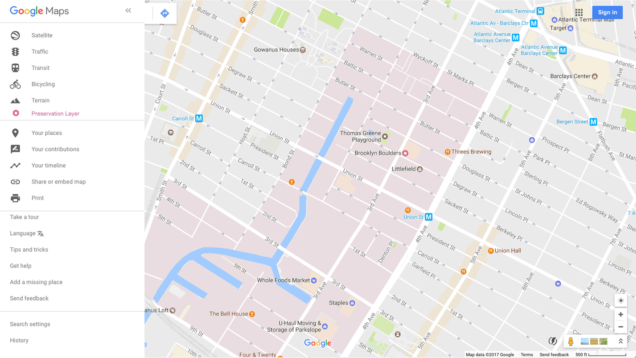Gowanus on Google Maps with the Preservation Layer activated