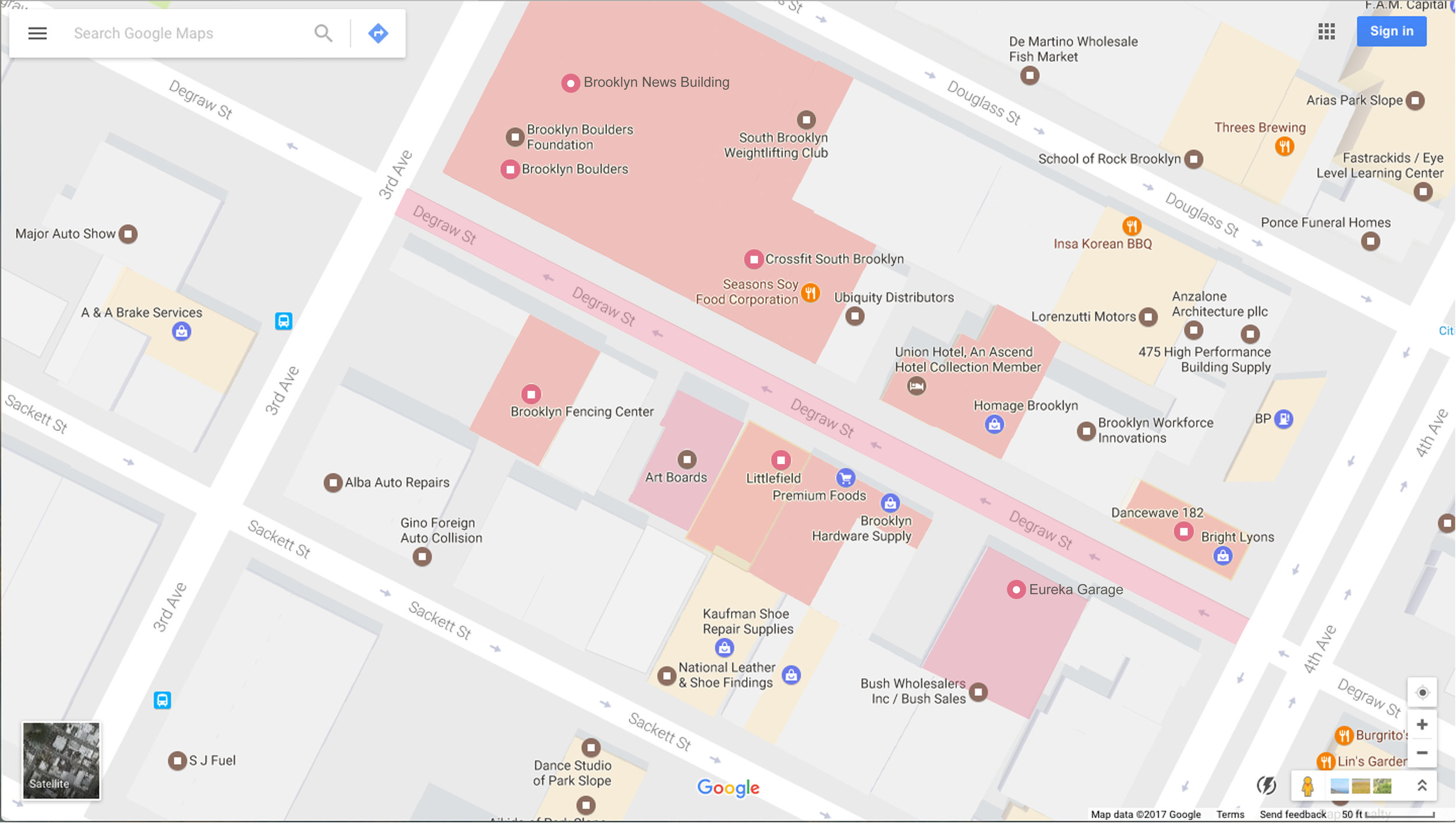 Google Maps Community Preservation Layer on: The pink area shows the community preservation area of interest, through which community residents and others can see the specific questions or data prompts, and input their reviews and comments for particular buildings and uses